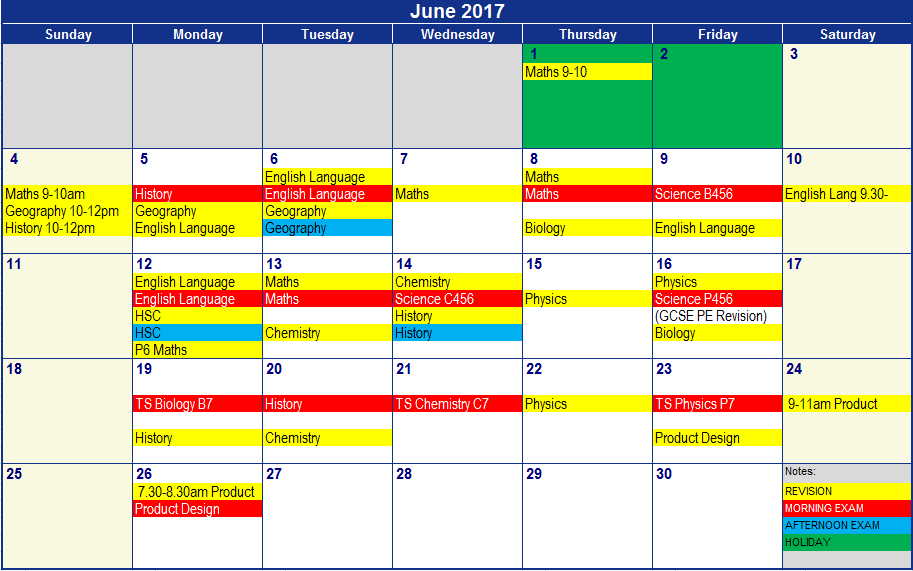 JUNE REVISION AND EXAMS