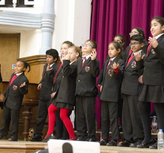 Talented Berkeley children take part at the Summer Singing Festival at Hammersmith Town Hall