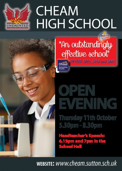 Cheam High School Open Eve Ad 2018