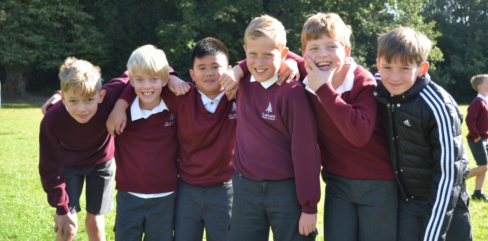 Year 5 boys outside