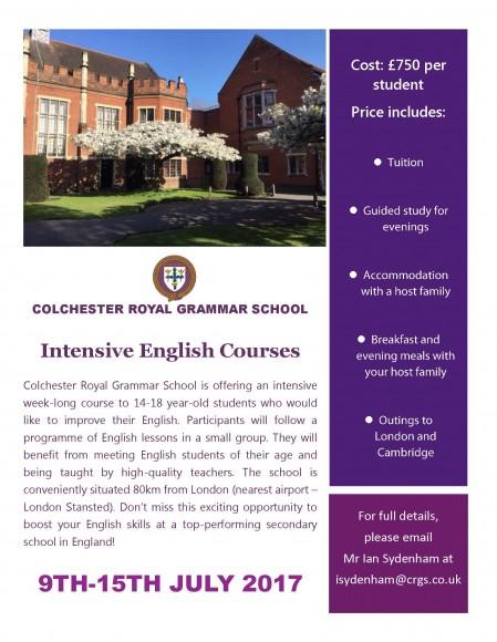 Intensive English Course flyer (No euro)