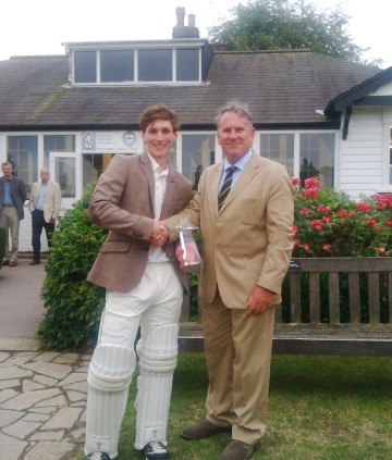 President Richard Kemp handing out Rob George trophy to Miles Clark Summer 2014