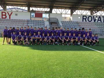 CRGS rugby tour squad in Rovato, Italy in October 2016, wearing tour kit sponsored by the Old Colcestrian Society.