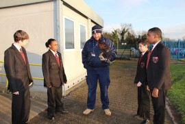 Milo the Harris Hawk visits Cranford