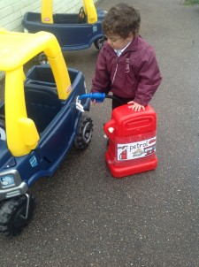 petrol into car