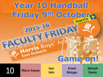 Faculty Friday Event 5 - Year 10 Handball