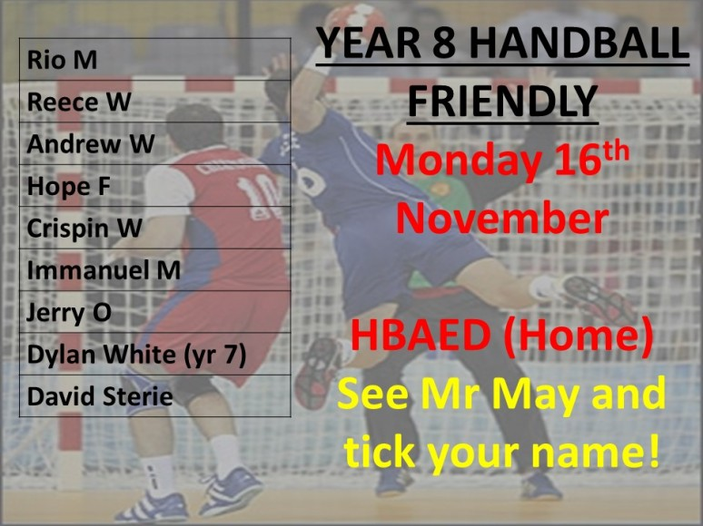 Handball teamsheet KS3