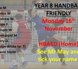 Handball - KS3 Teamsheet for Friendly on November 16