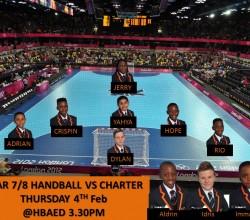 Handball - Year 8 Teamsheet v Charter 4th February
