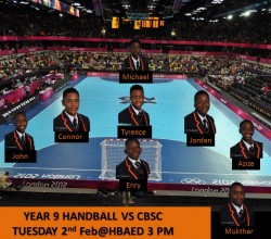 Handball - Year 9 Teamsheet v CBSC 2nd February