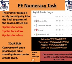 PE Numeracy Task - Race for the Premiership
