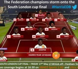 South London Cup Final, Friday 27 May - U15 Team Sheet