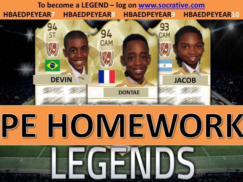 Homework legends - Y7 - 14.11.16