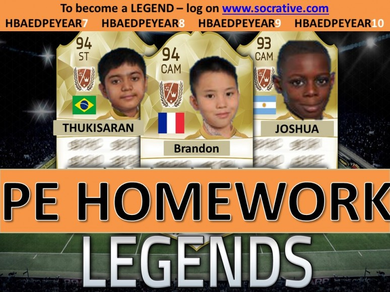Homework legends - Y8 - 14.11.16