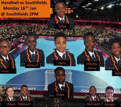 Under 13 Handball Squad vs Southfields - Jan 16