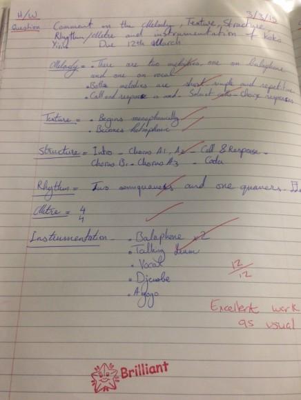 Music homework example 2 June 2015