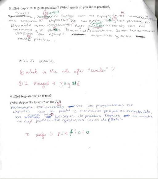 Spanish work example 3