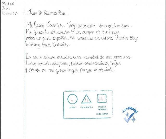 Spanish work example 5