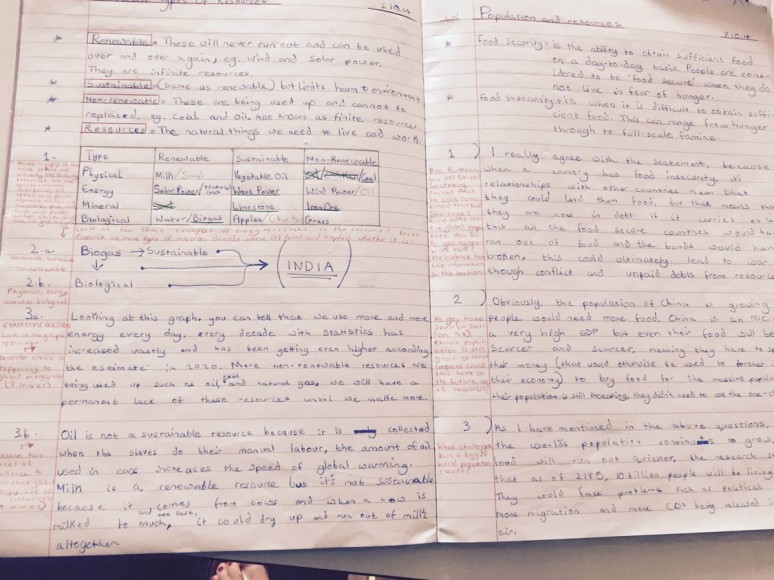 Geography - example of work - Year 10