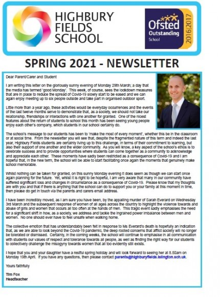 Spring newsletter front page