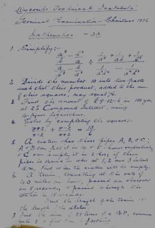 MathematicsexamChristmas1926