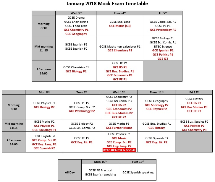 Mock timetable overview