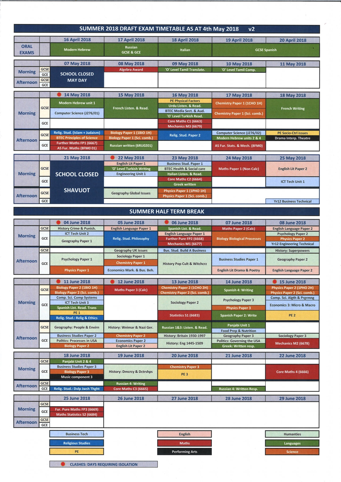 Exam Timetable for website