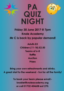 Parents' Association Quiz Night poster 28.4.17
