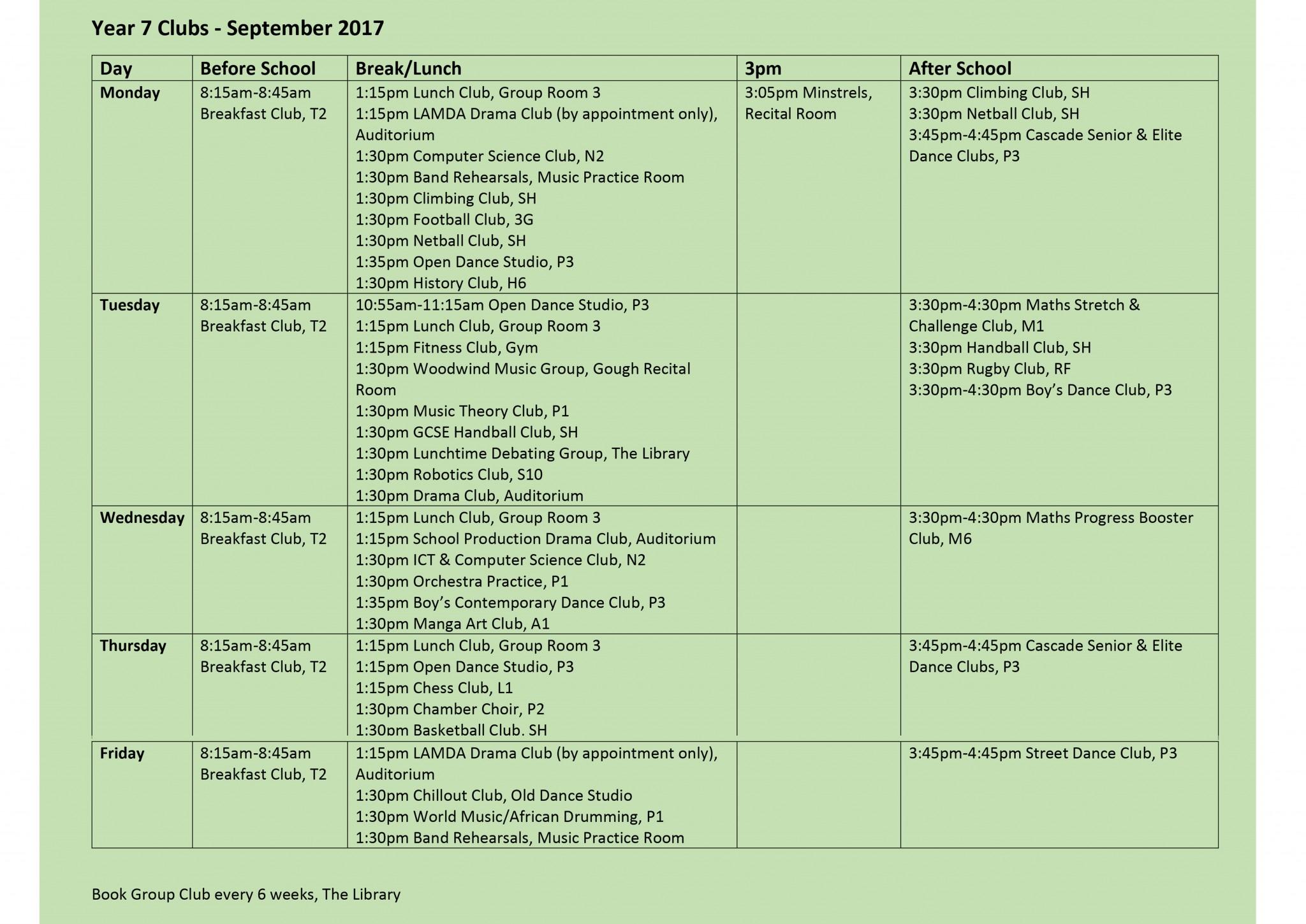 Year 7 Club List 15.9.17