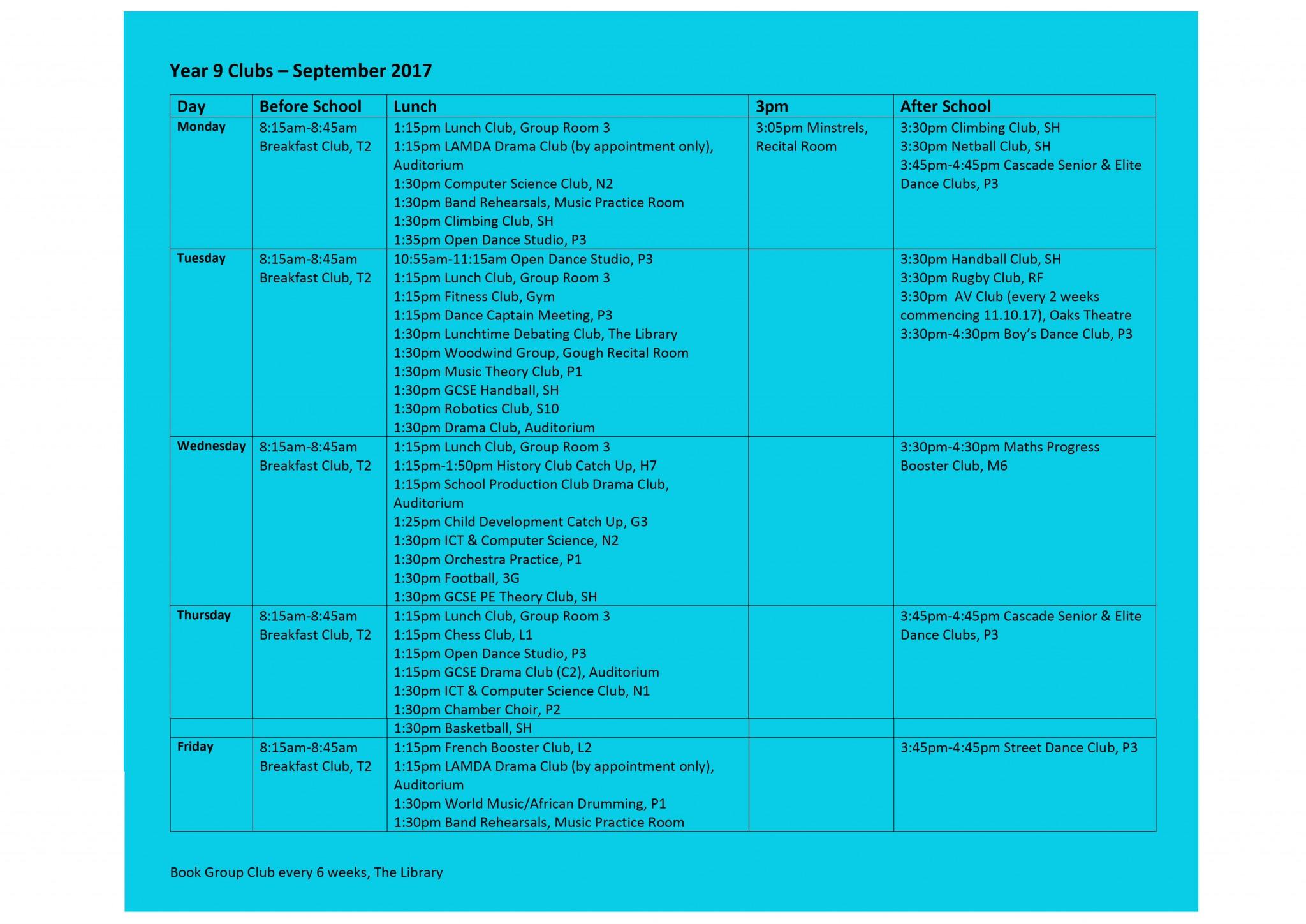 Year 9 Club List 15.9.17