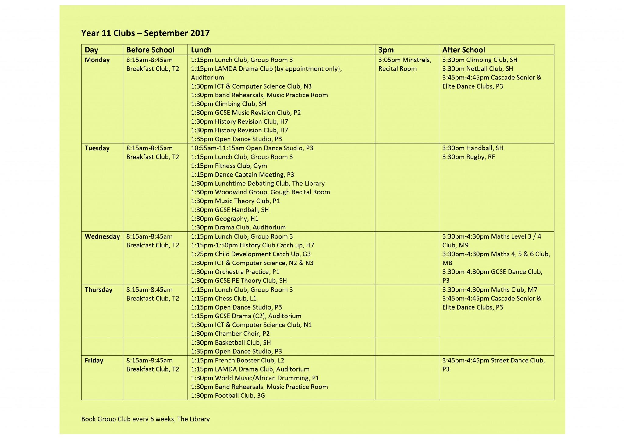 Year 11 Club List 15.9.17