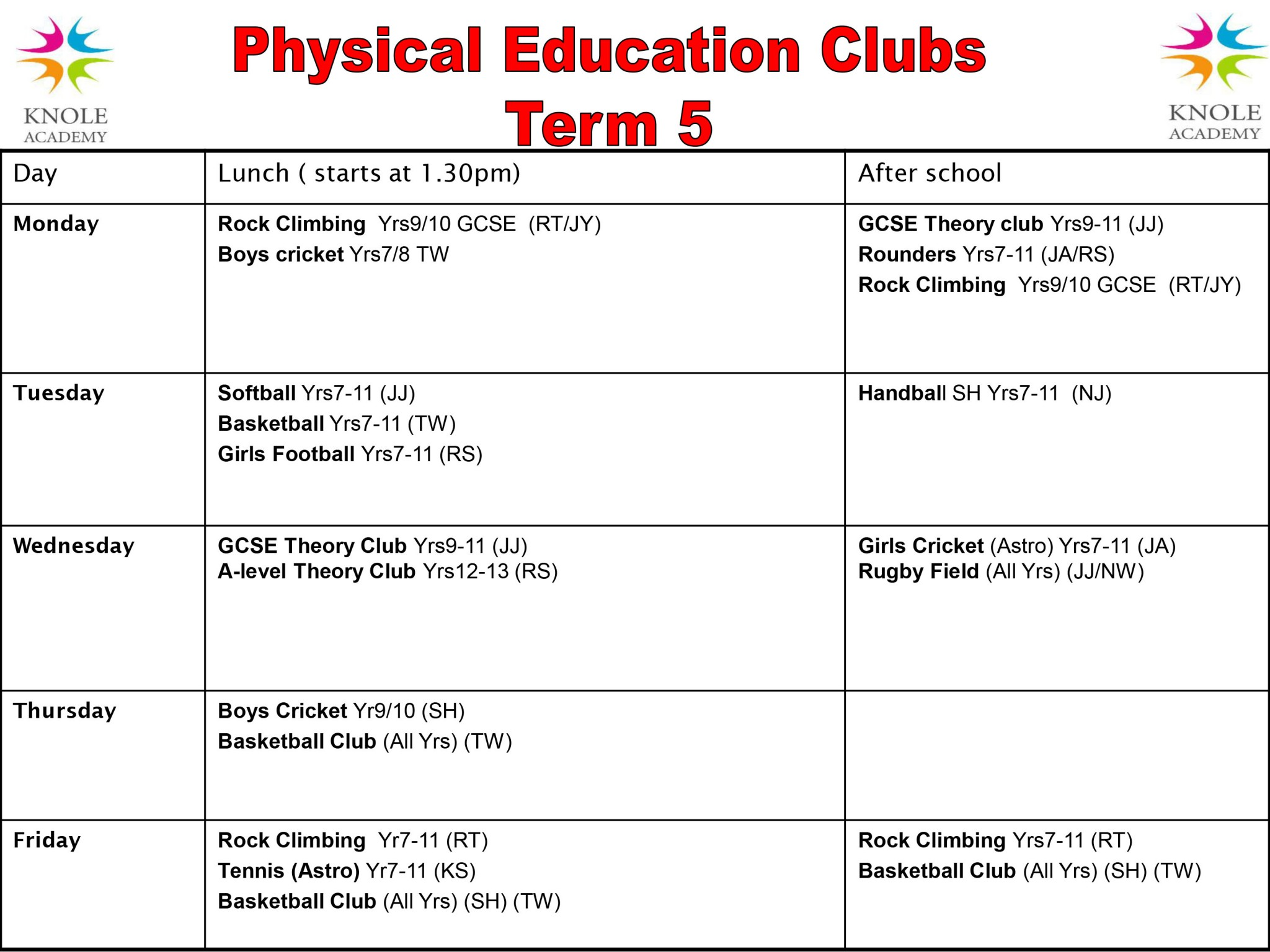 PE Clubs Timetable April 2018