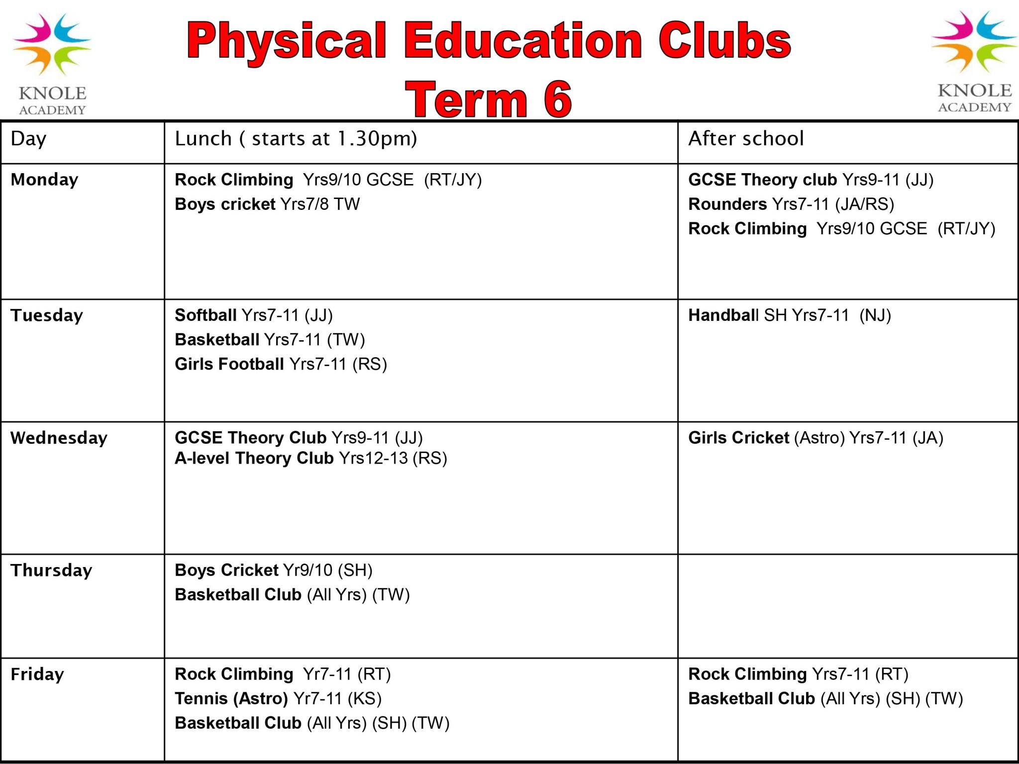 PE Clubs Timetable Term 6 2018
