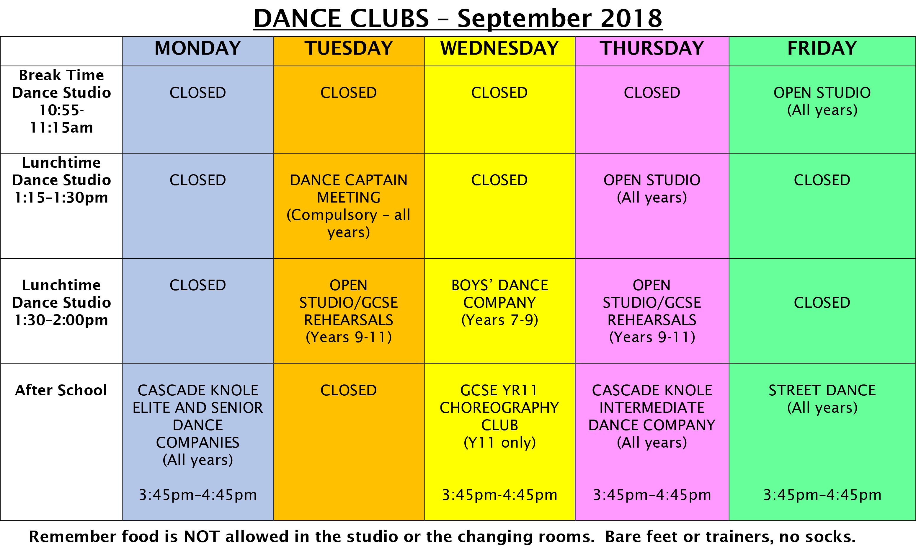 Term 1 Dance Club Timetable