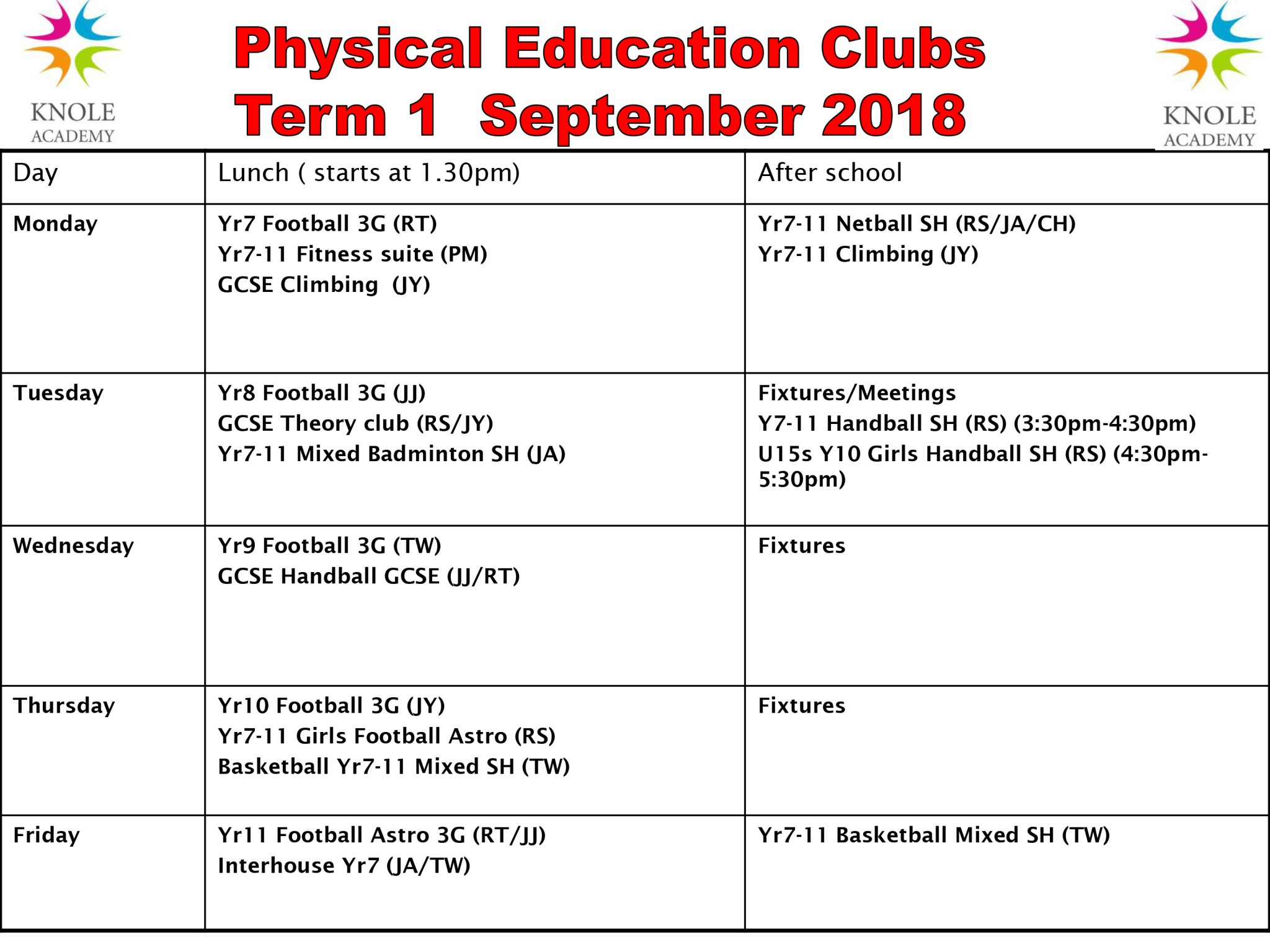 Rev Extra-curricular clubs Term 1 PE 11