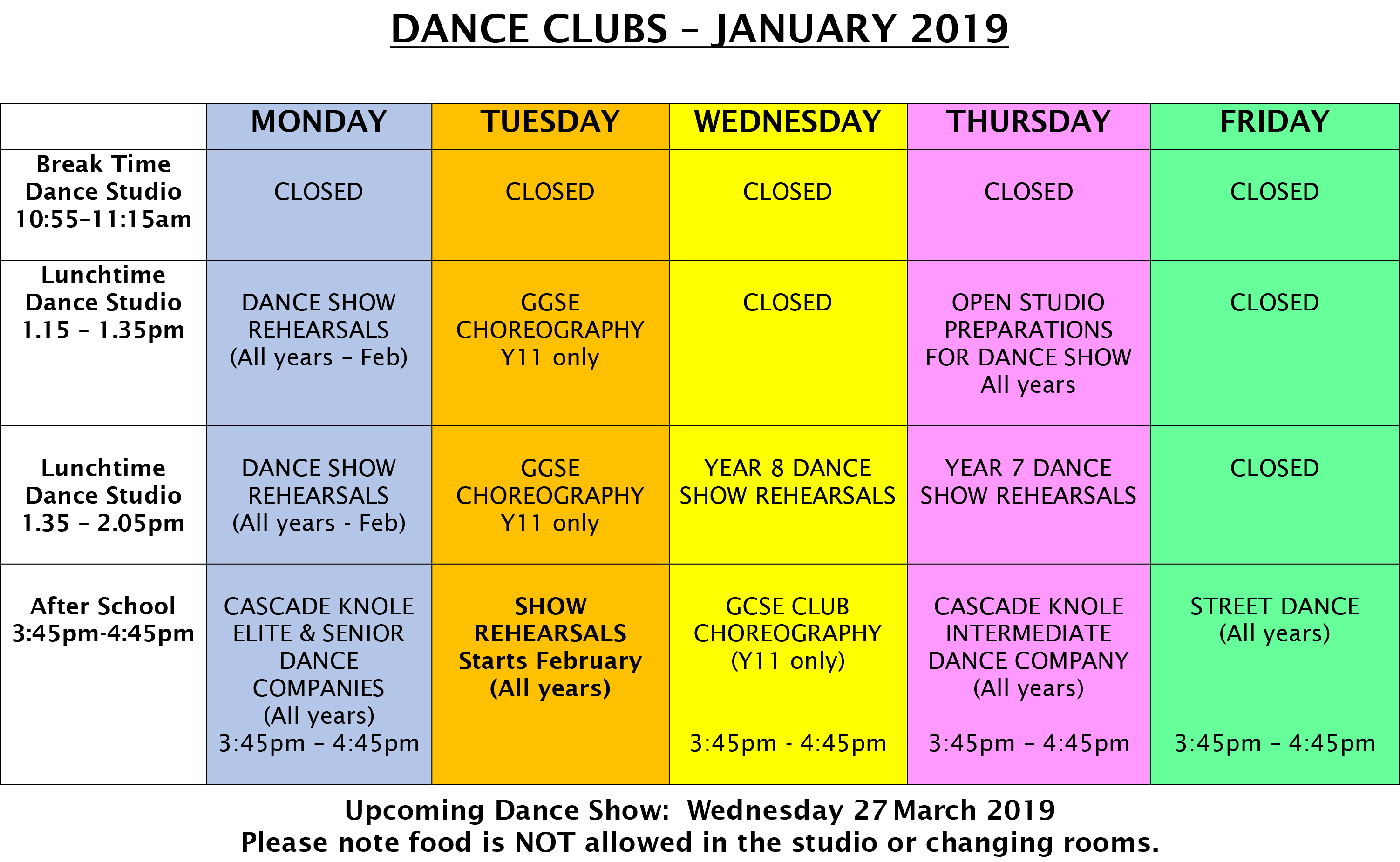 DANCE CLUBS Term 3 January 2019 Final