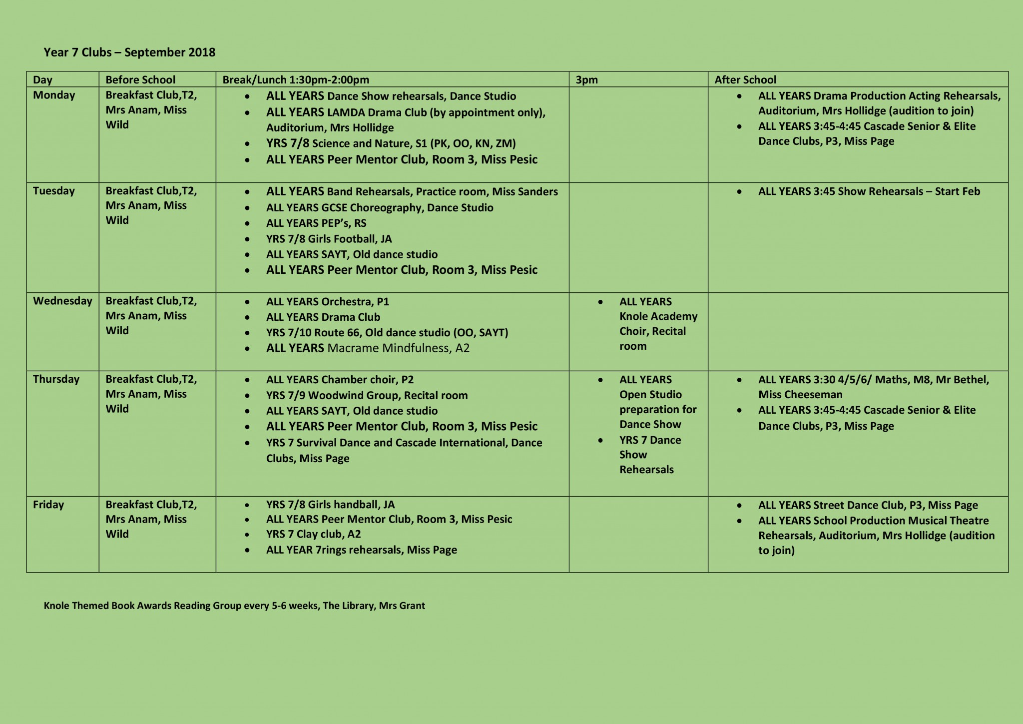 Year 7 Clubs Revised 5
