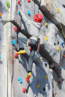 Climbing wall - boy climbing