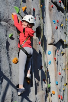Climbing wall - girl smiling