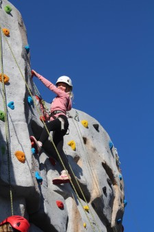 Climbing wall - girl at top