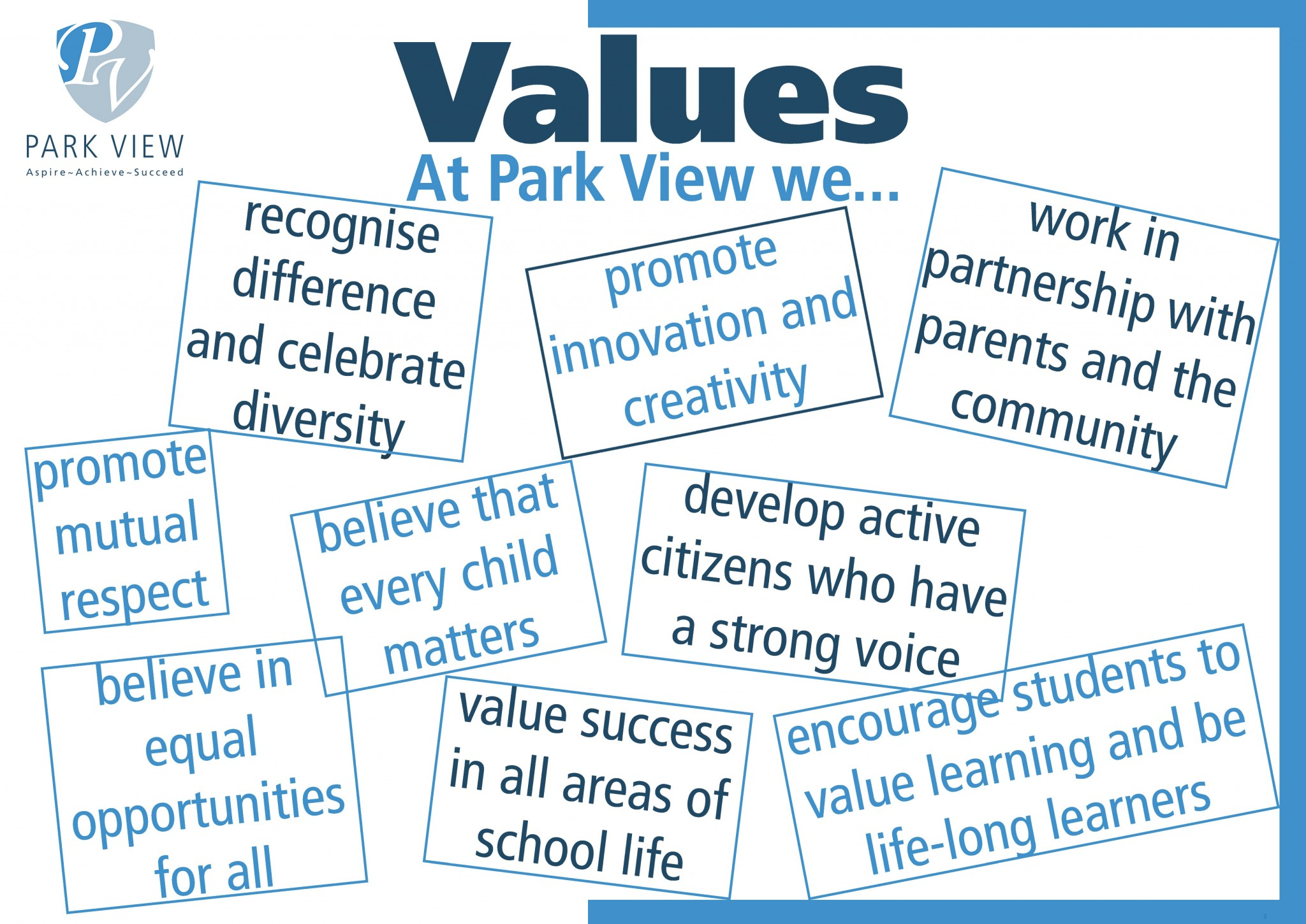 Values page copy