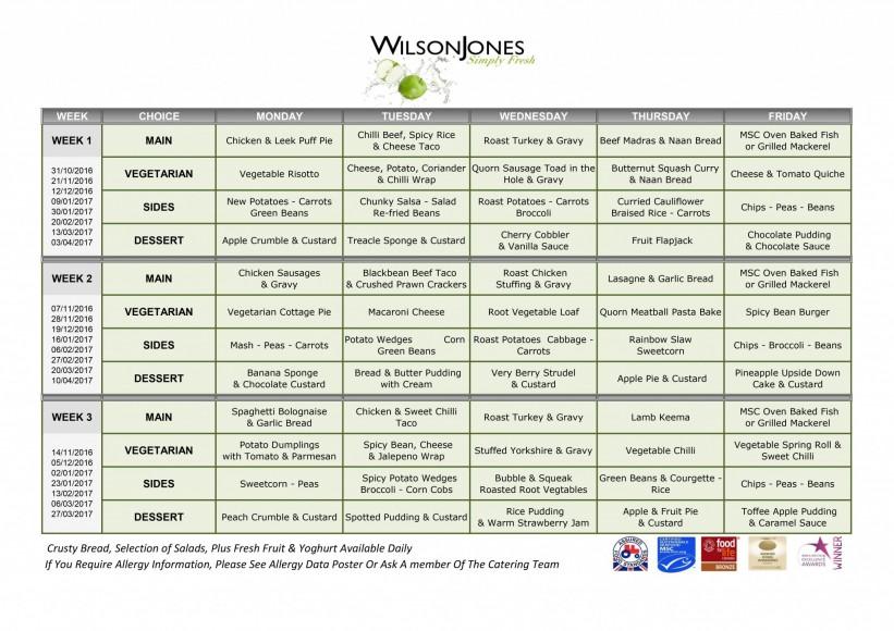 November Menu Templates 2016-2017