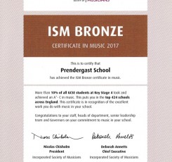 Pleased to have received the ISM Bronze Certificate!