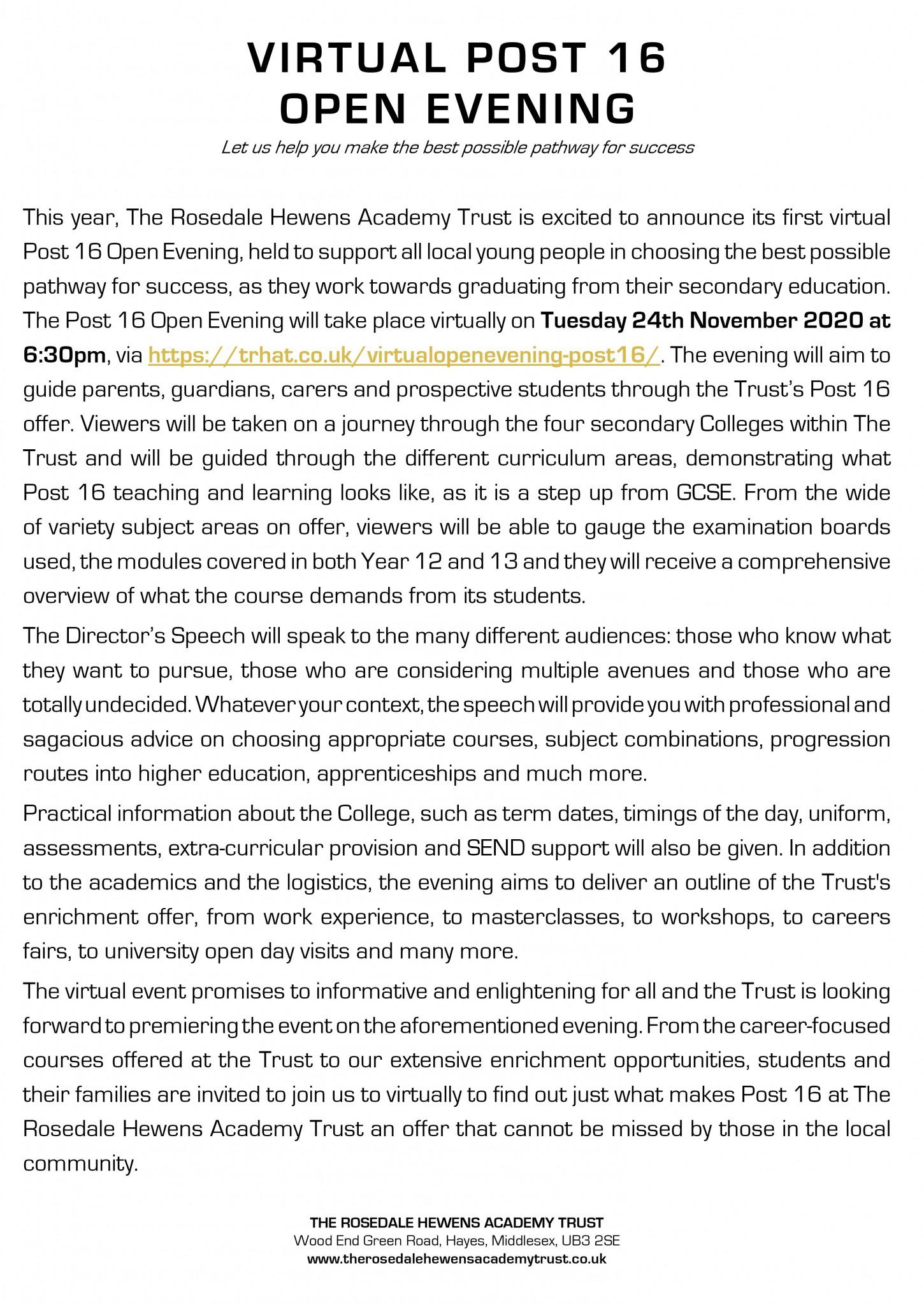 Post 16 Open Evening Advert wording 17.11.20