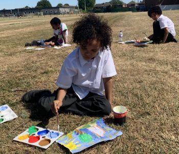 Children Embrace Landscape Art using Paint