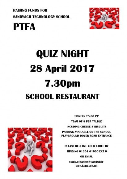 Quiz Night Flyer April 2017