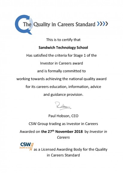 Stage 1 Certificate for Sandwich Tech 27.11.17