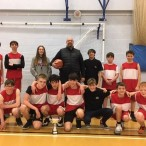 U15 basketball squad who won the Dover district basketball tournament at Manwoods