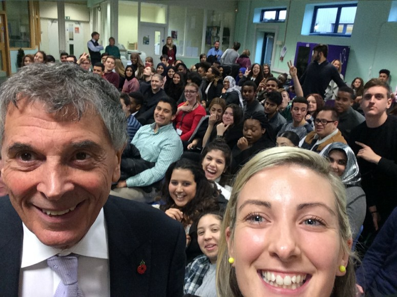 David Dein and Head of Sixth Form, Fiona McCloskey Selfie