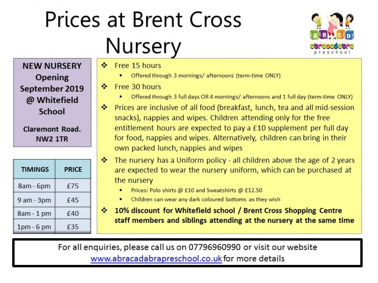 Brent Cross Nursery - 2019 Prices